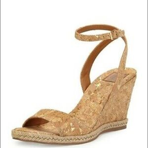"""TORY BURCH NATURAL """"MARION"""" CORK WEDGE"""